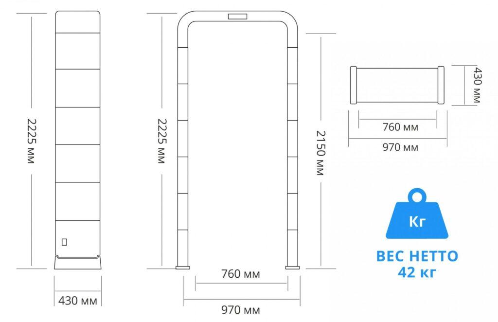 Razmer PC P 1800MK.jpg scaled1 1024x662 - Сборно-разборный металлодетектор БЛОКПОСТ PC P 1800 MK (18/12/6)