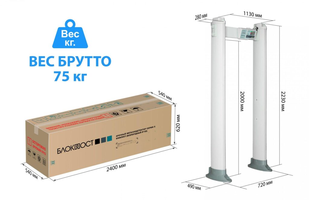 Razmery Korob PC X 100 4.jpg scaled1 4 1024x662 - Арочный металлодетектор БЛОКПОСТ РС Х 1200 MK