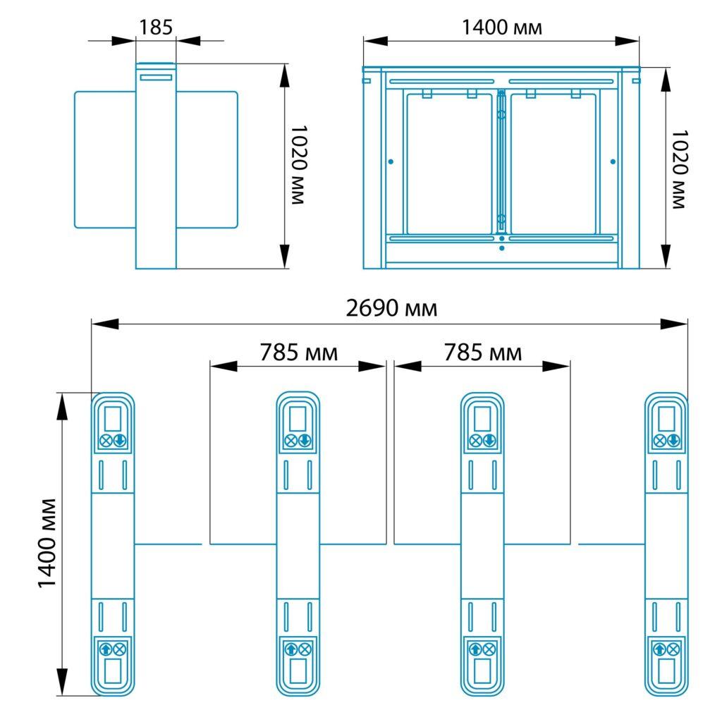 Razmery RSP 10001 1024x1024 - Турникет распашной БЛОКПОСТ РСП 1000