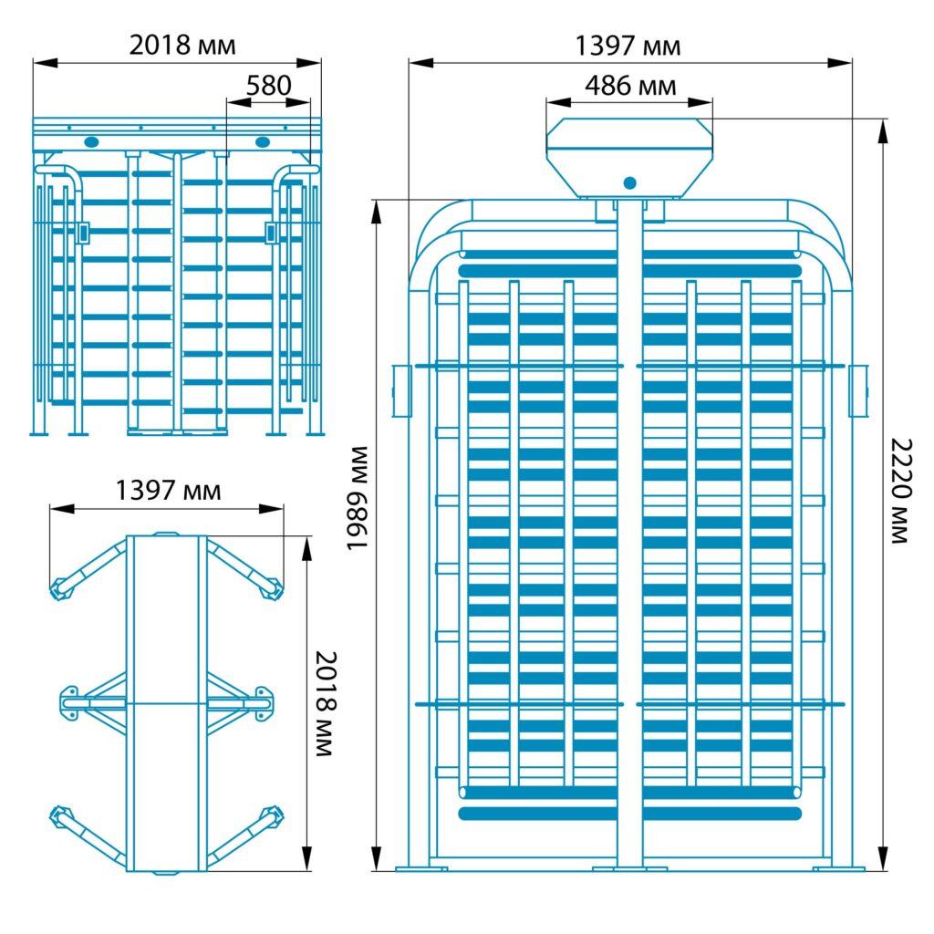 Razmery RST 14001 1024x1024 - Полноростовой турникет БЛОКПОСТ РСТ 1400