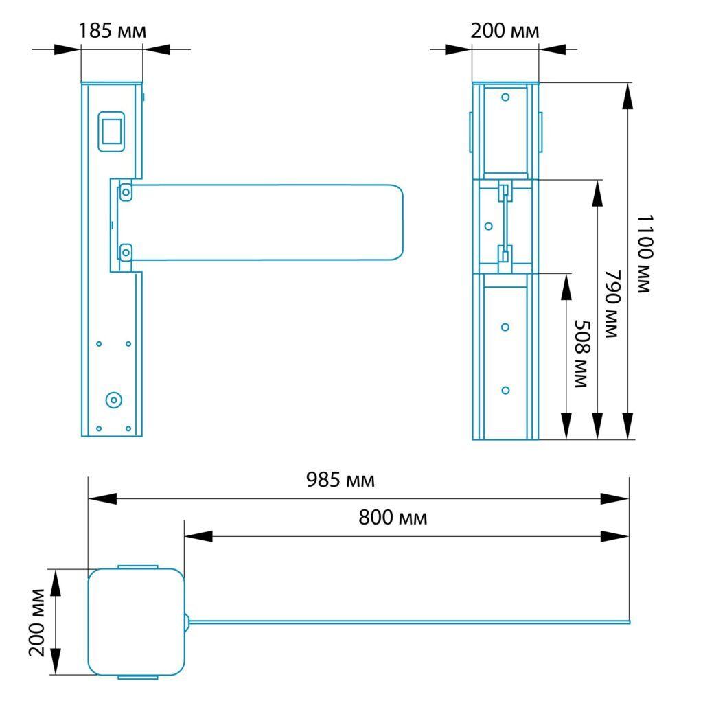 Razmery KL 5001 1024x10241 1 1024x1024 - Автоматическая калитка БЛОКПОСТ КЛ 500