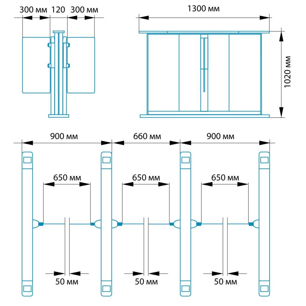 Razmery RSP 18001 1024x1024 - Турникет распашной БЛОКПОСТ РСП 1800