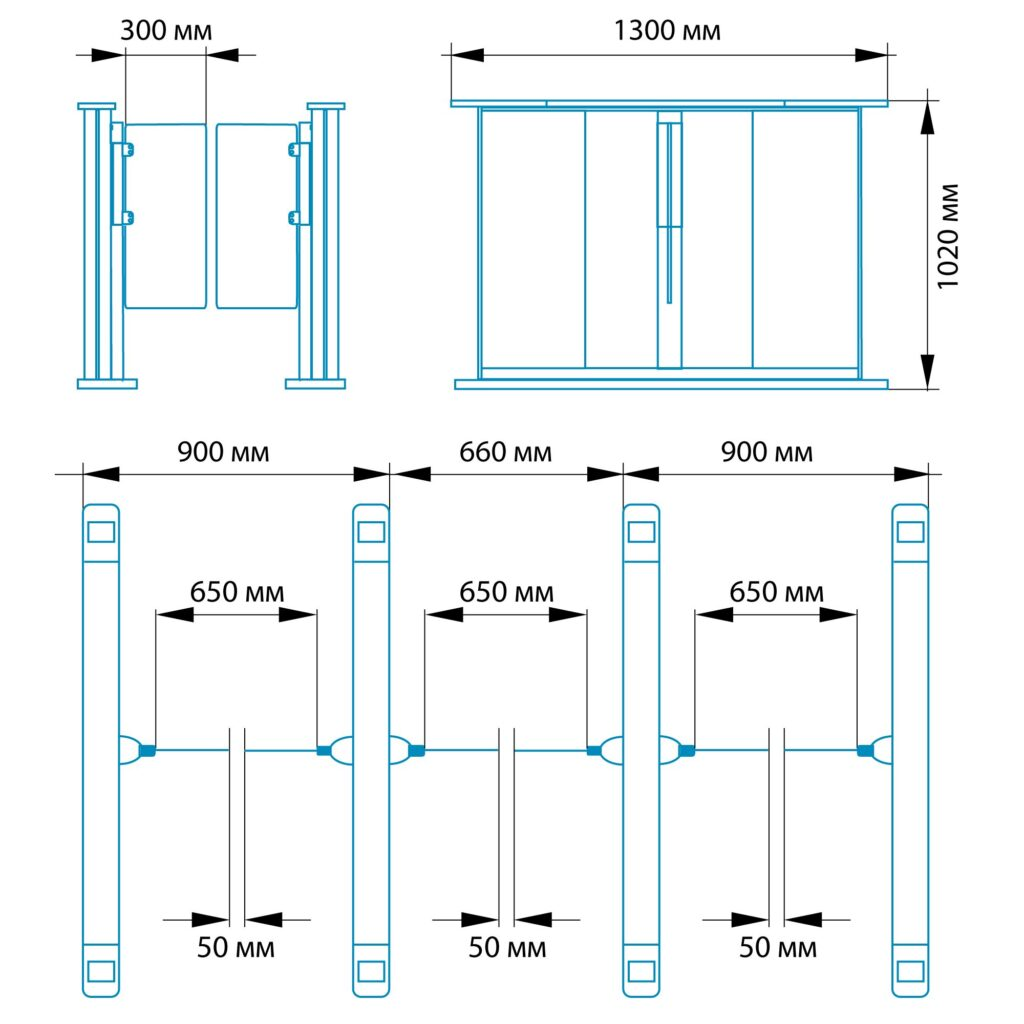 Razmery RSP 9001 1024x1024 - Турникет распашной БЛОКПОСТ РСП 900