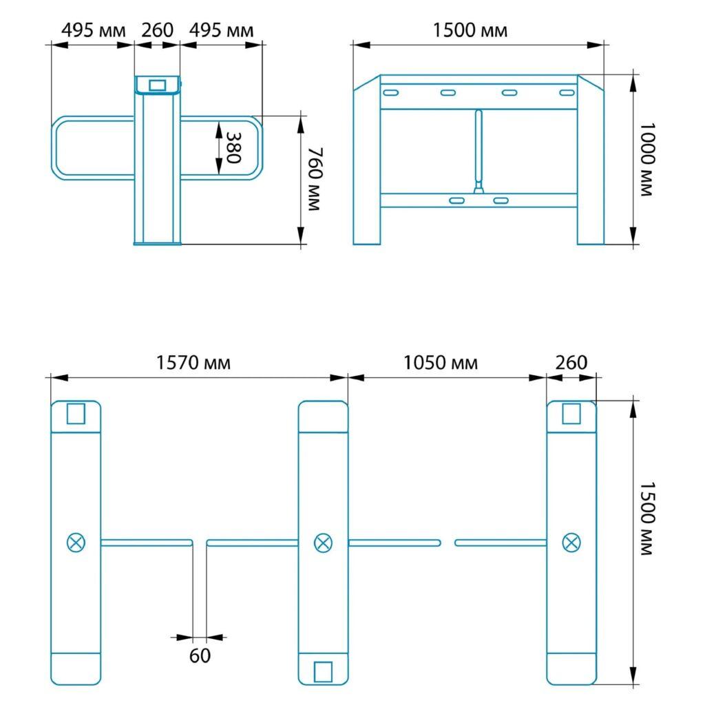 Razmery SDV 1000 1024x1024 - Турникет распашной БЛОКПОСТ СДВ 1000