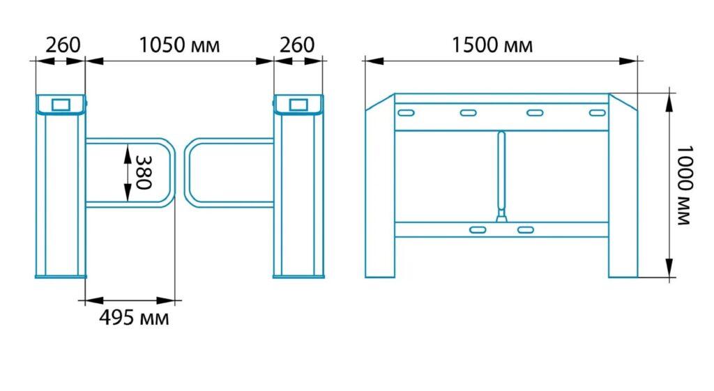 Razmery SDV 500 1024x561 - Турникет распашной БЛОКПОСТ СДВ 500