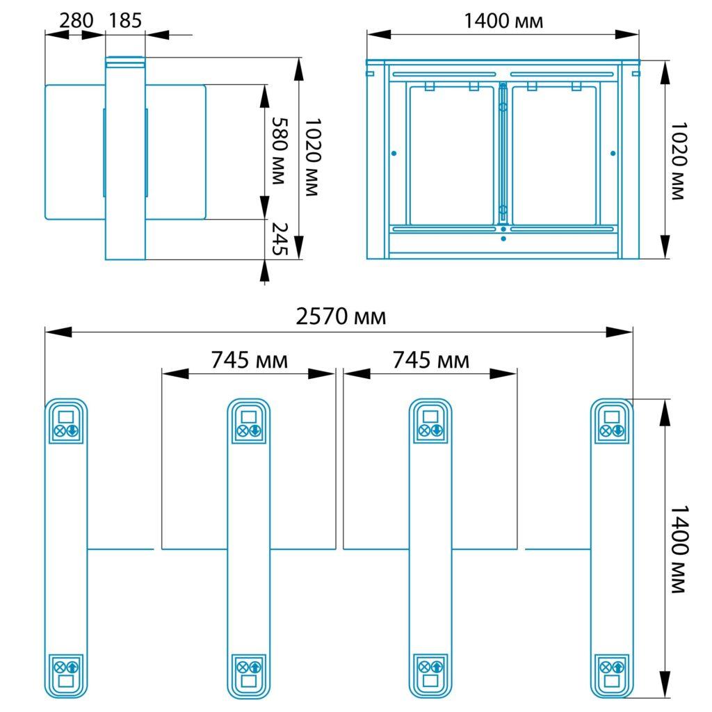 Razmery Turnikety RSP 800S1 1024x1024 - Турникет распашной БЛОКПОСТ РСП 800 С