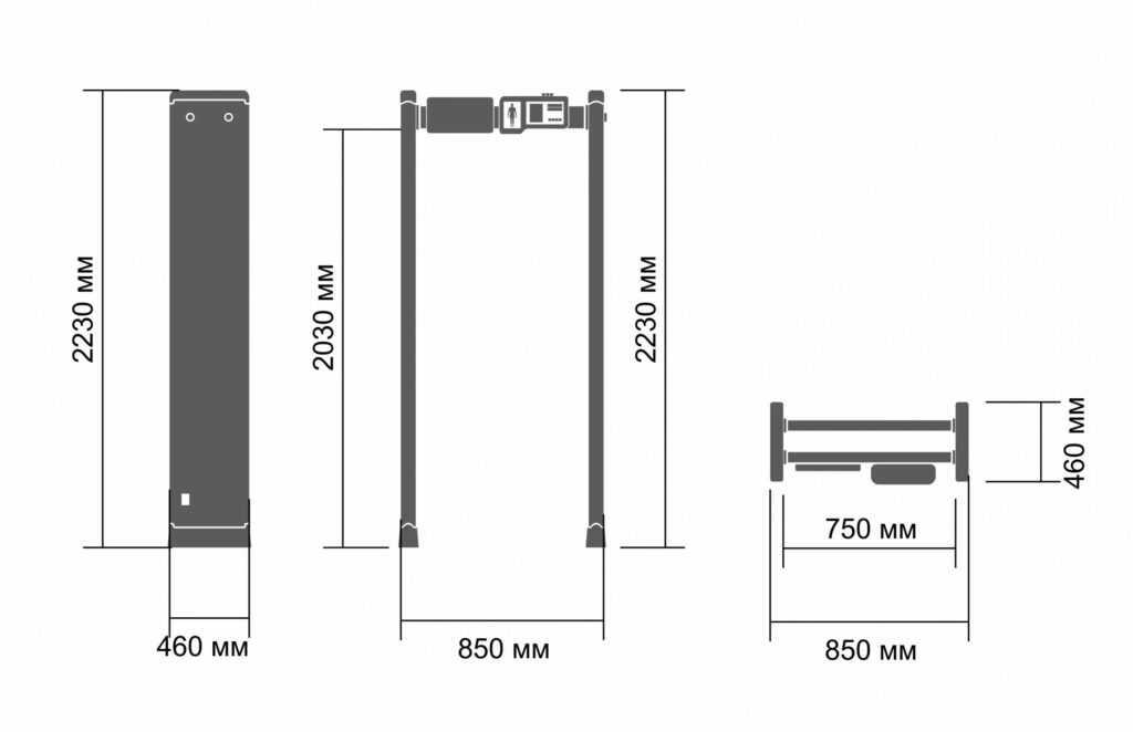 razmeri z 1800 mk s teplovizorom 1024x662 - Арочный металлодетектор БЛОКПОСТ PC Z 1800 MK с встроенной тепловизионной системой от ЛЗОС
