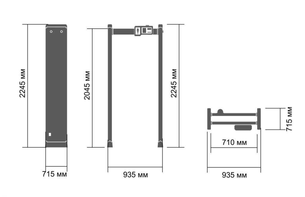 razmery pc 3300 mk 1024x662 - Арочный металлодетектор БЛОКПОСТ PC 3300 MK с функцией температурного контроля