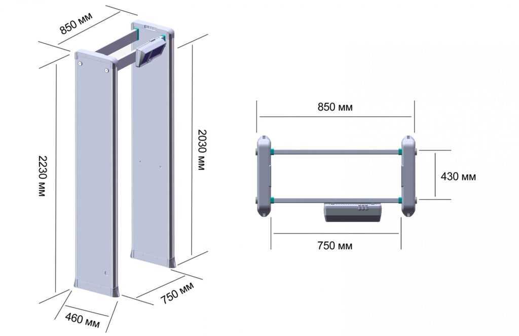 rsz razmery rs 3300 mk 1024x662 - Арочный металлодетектор БЛОКПОСТ PC Z 3300 MK